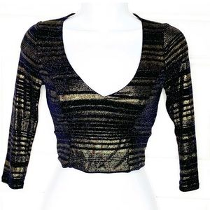 Lulus metallic crop cropped top